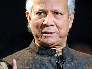 Muhammad Yunus at the  World Economic Forum in 2012 (Wikipedia Commons photo licensed under Creative Commons: http://bit.ly/1jGyfFU)