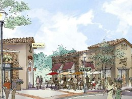 A rendering of the under-construction Hollister Village shopping center in Goleta. The retail center is part of a mixed-use project and will be anchored by a 24,757-square-foot Smart & Final Extra. Supercuts has also signed up for 1,250 square feet in the center.