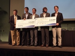 ShadowMaps took home $20,000 in prize money at UC Santa Barbara's annual New Venture Competition. The startup makes a service that tries to build three-dimensional maps of the shadows cast by buildings and correct for them to improve mobile phone GPS. (Stephen Nellis / Business Times photo)