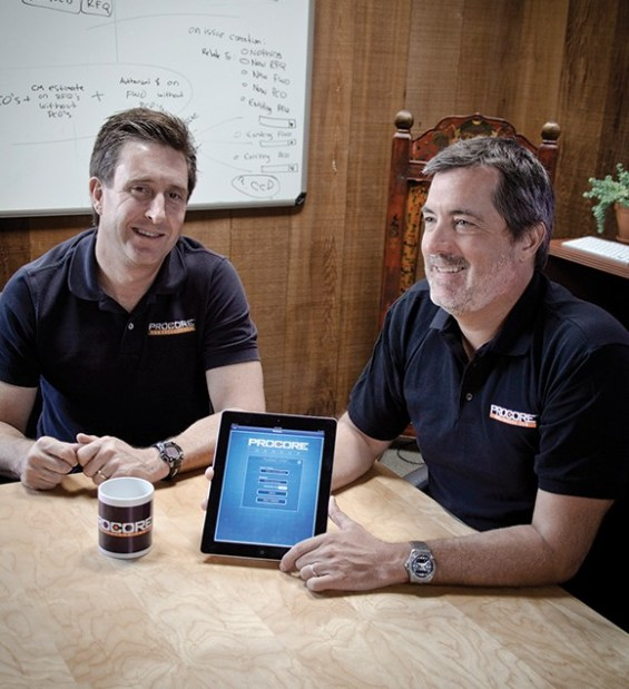 Procore Technologies President Steve Zahm, left, and CEO Tooey Courtemanche, in 2012 file. (Business Times file photo)