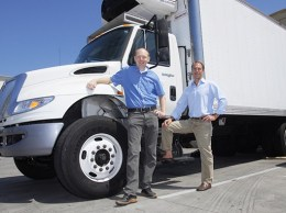 Chris Fowler, left, and Steve Wells are two veteran software executives who founded Santa Barbara-based ClearPathGPS. The service allows owners of commercial vehicle fleets to track drivers, fuel usage, maintenance schedules and more. (Stephen Nellis / Business Times photo)