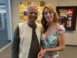 Ventura County FOOD Share CEO Bonnie Weigel, right, with Nobel laureate Muhammad Yunus.  (courtesy photo)