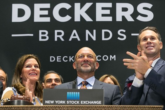 Deckers Outdoor Corp. CEO, President and Chairman Angel Martinez and members of the company's leadership team ring the opening bell at the New York Stock Exchange on Sept. 4. (courtesy photo by Ben Hider of NYSE)