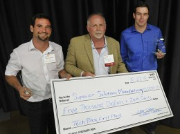 Superior Soluitions Manufacturing founders Marty Affentranger (left) and Justin Russo (right), received TechPitch's $5,000 grand prize and the audience choice award. (Courtesy photo)