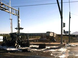 The site of the crash on the morning of Feb. 24. Investigators say a Ford F-450 was driving on the tracks before colliding with the passenger train. (Photo courtesy of Oxnard Fire Department)