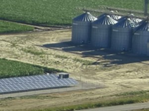 The Drumheller Rice Dryers farming operation powered by Solar3D in Butte City, California. (Photo courtesy of Solar3D)