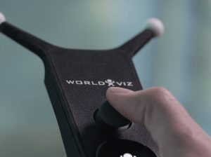 The WorldViz virtual reality atmosphere is navigated by users using this wand.