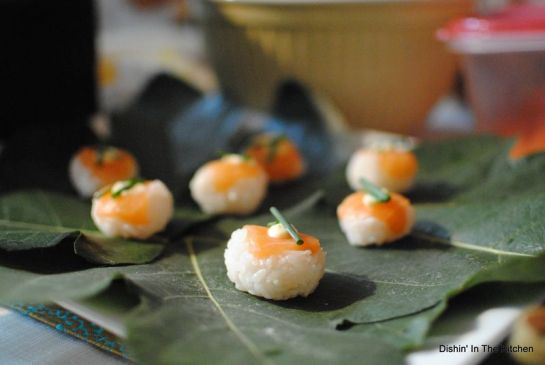 LAHelpsLA-Salmon Sushi Balls on Fig Leaves