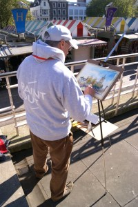 Artist Douglas Boyd Cross at Paint Out Norwich 2015