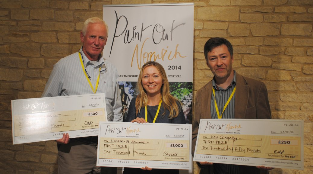 Prize winners and their cheques - Chris Daynes (2nd), Haidee-Jo Summers (1st), Roy Connelly (3rd) [L to R]