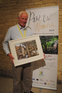 Chris Daynes (2nd Prize) with his painting - The Watergate