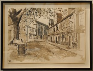 PON14 Painting #27 Liam Wales, Elm Hill, pen, ink & charcoal