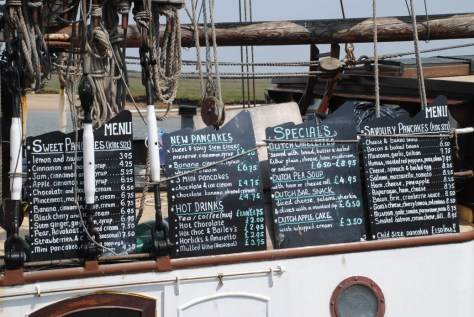 The Albatros Ship, Dutch speciality menu, Wells, Norfolk