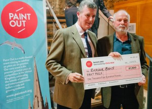 Richard Bond with sponsor Chris Hind winning First Prize at Paint Out Norwich 2015