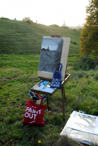 Artist Susannah Sendall's Heath Noir at Paint Out Norwich and Cass Art Mousehold Heath plein air art event