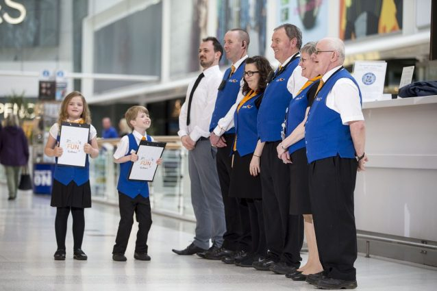 Staff line up to be inspected by the new intu Braehead Heads of Fun, Aidan Smith and Lucie Roy.