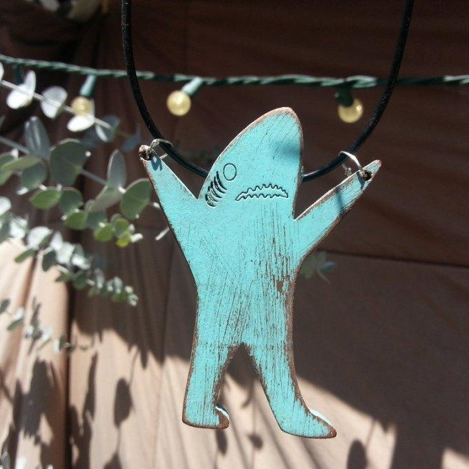 Vintage Sky Blue Left Facing Shark Pendant