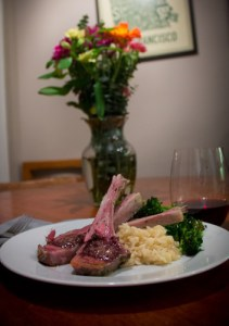 Herb Marinated Lamb Rack Chops with Fig Tapenade Butter