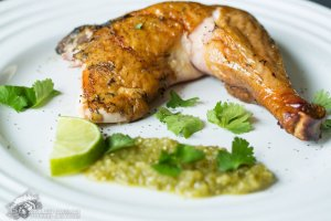 Smoked Chicken with Tomatillo Salsa