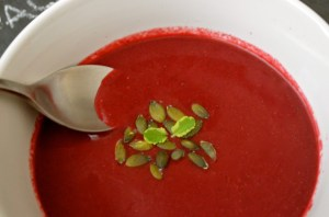 WARMING BEETROOT, COCONUT AND GARLIC SOUP