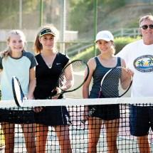 PaliHi freshmen Caleigh Crossman, Polina Zotenko and Alyssa Velky with coach Bud Kling.