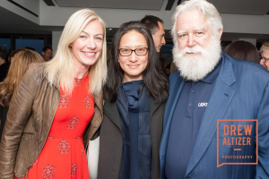 President of Pace Palo Alto, Elizabeth Sullivan, Kyung Turrell, and James Turrell. Photo by Pace Gallery