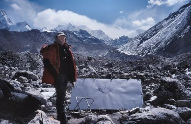 Tony Foster at Mt. Everest. Photo credit: Mike Nathan. Image courtesy of the Foster Art and Wilderness Foundation.