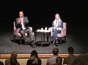 Amy Rao in conversation with CNN commentator Van Jones at the JCC in November 2016