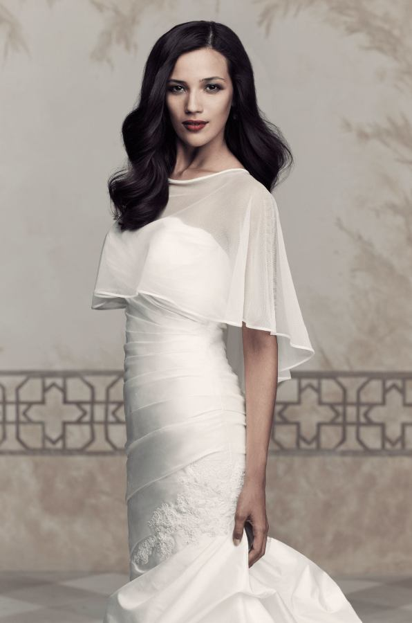 Paloma Blanca Cape Style 211 | Net and Organdy Cape