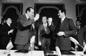 Baghdad, December 1974. Jacques Chirac, then prime minister of Gisard d' Estaing is welcomed by Saddam Hussein. CORBIS/SYGMA