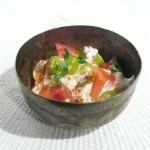Raita with cucumber, tomatoes, green peppers and mint
