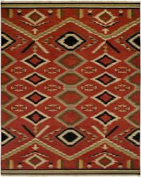 Navajo Rug Design - Red Field with Sage Ivory and Black Accents area rug
