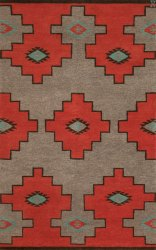 Navajo Inspired Design. Grey and Red with Turquois Accents area rug