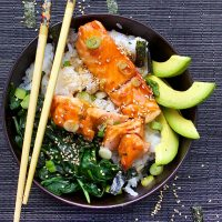 TERIYAKI SALMON RICE BOWL with SPINACH and AVOCADO