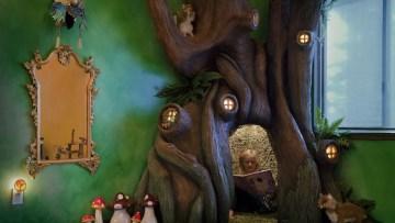 Un padre crea una habitación infantil con un árbol mágico