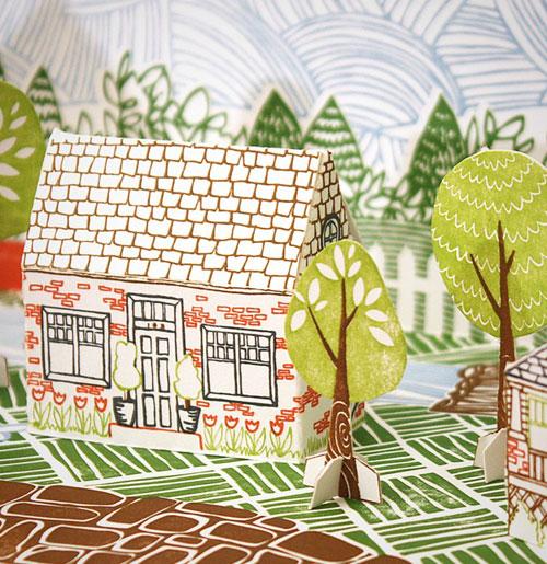 Letterpress Paper House Kit