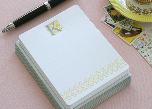 Delphine Letterpress Monogram Cards