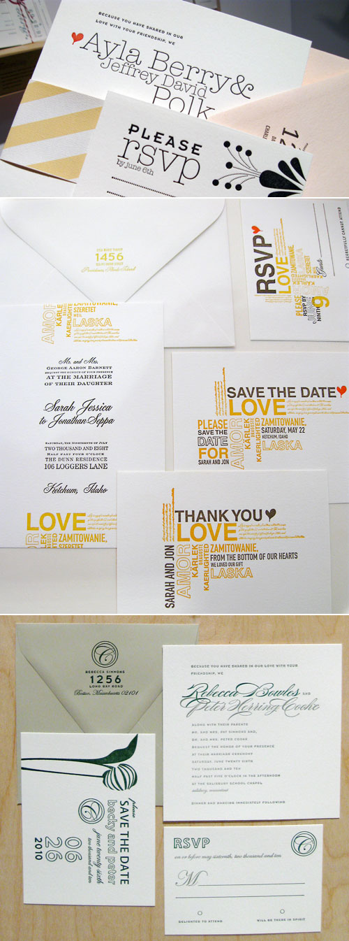 42 Pressed Letterpress Couture Wedding Invitations