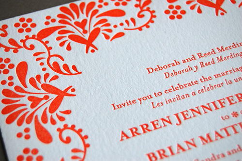 Mexican Tile Letterpress Wedding Invitations