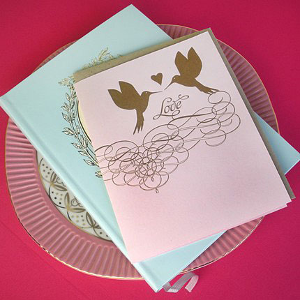 Delphine Letterpress Love Hummingbirds