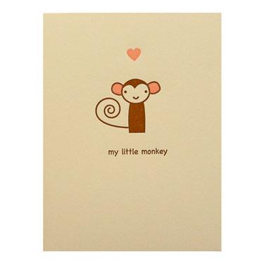 Two Piglets Little Monkey Card