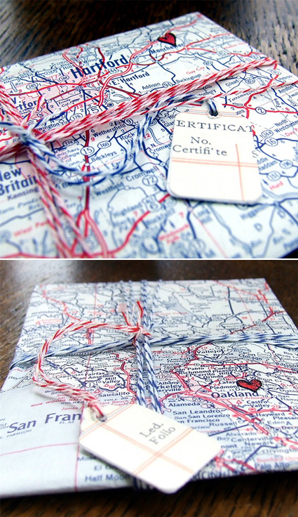 Map Paper Gift Wrap Idea