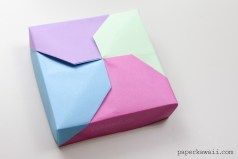 Modular Origami Masu Box Lid - 'Twist' - Paper Kawaii - Learn how to make a modular origami 'twisted' masu box - with the design on the lid ✪ This lid is kind of experimental - I think there are lots of variations one could do with this box :) The 'twist' looks a bit like pinwheel 💠 - #boxes #craft #gift #boxgift #boxes #howto #instructions #oragami #orgami #origami #origamiinstructions #tutorial #origamis #packaging #paper #boxes #papercraft #paperfolding #paperpackaging #paperbox