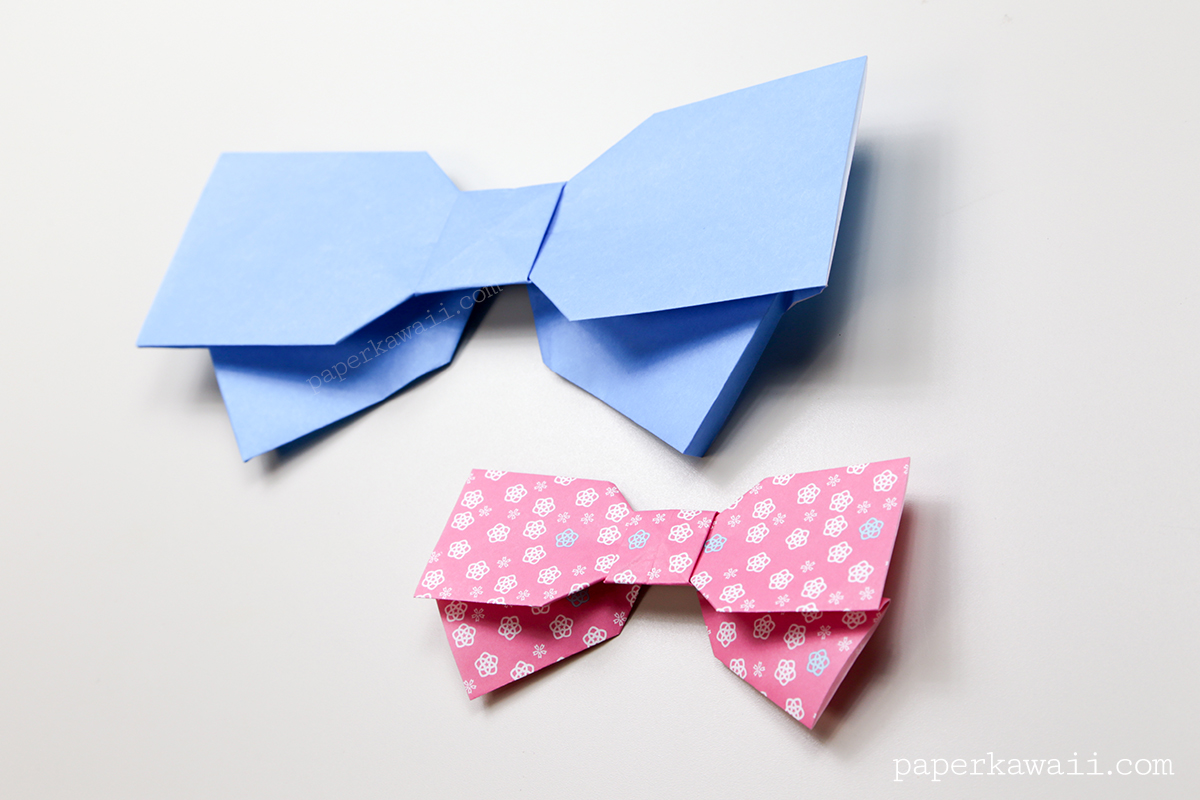 origami bow instructions layered paper kawaii