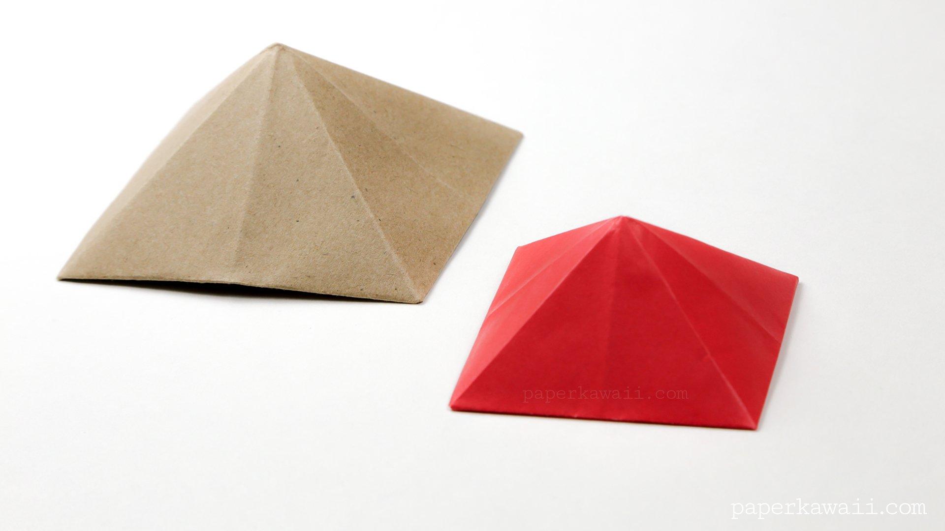 origami square pyramid house lid paper kawaii