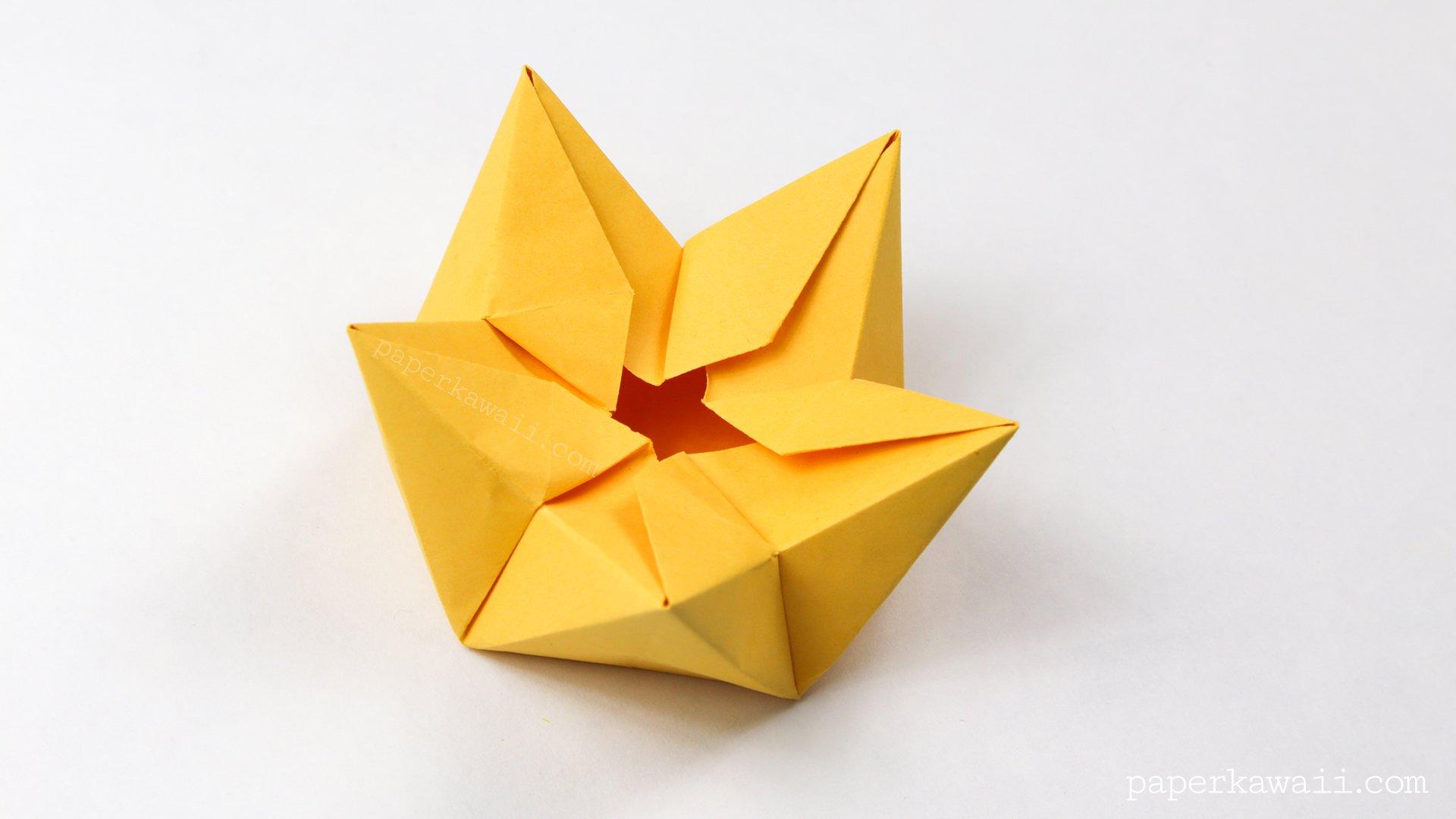 origami star flower crown bowl tutorial paper kawaii
