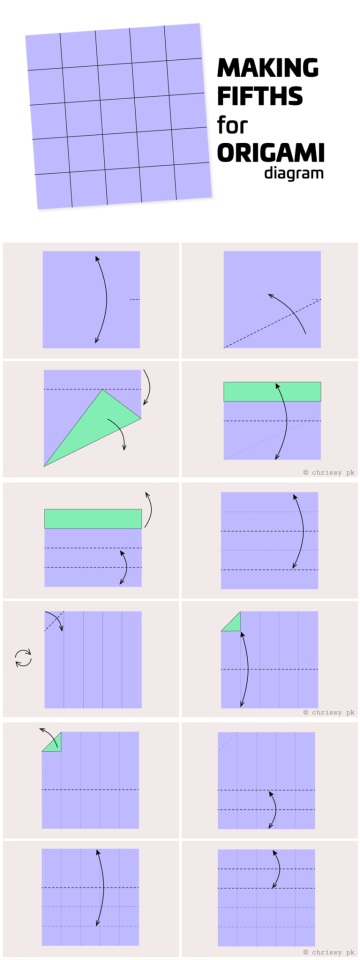 How to fold square paper into fifths - Paper Kawaii #origami #diagram