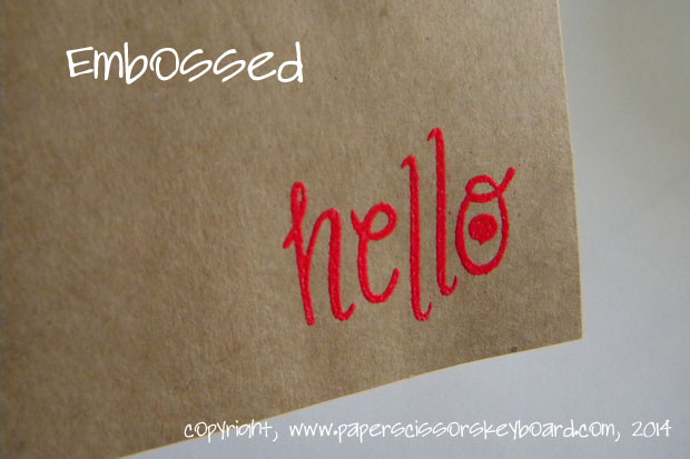 Ink and embossing powder on heavier kraft paper worked just as well and came out really crisp