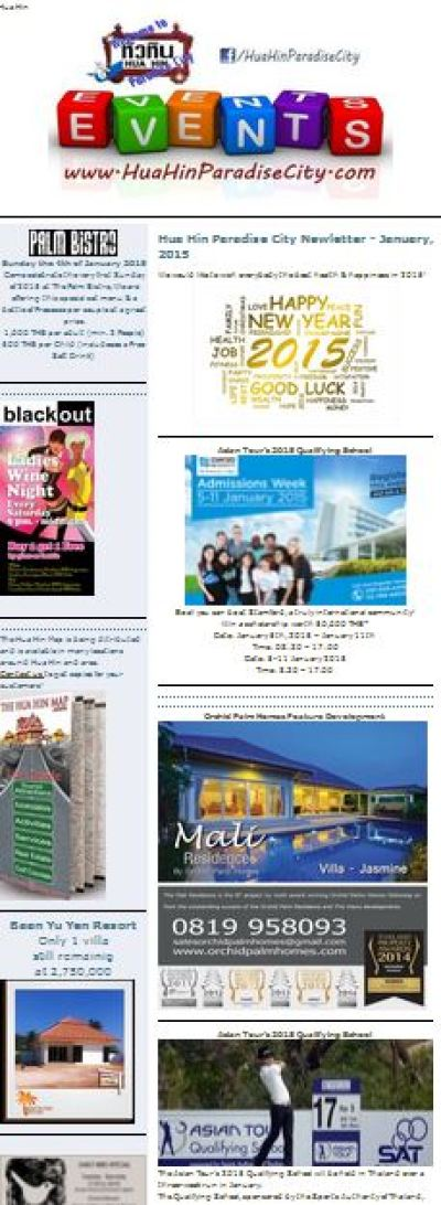 Hua Hin Newsletter January 2015 events and activities