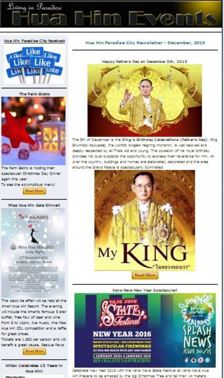Hua Hin Events e-Letter – December, 2015